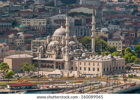 New Mosque in Istanbul Turkey. View from the top of the Galata Tower. - stock photo