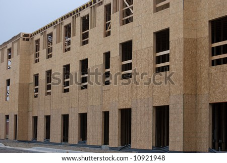 New motel in the early stages of construction - stock photo