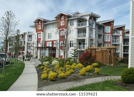 New Multi-Family Housing in Suburban Setting - stock photo