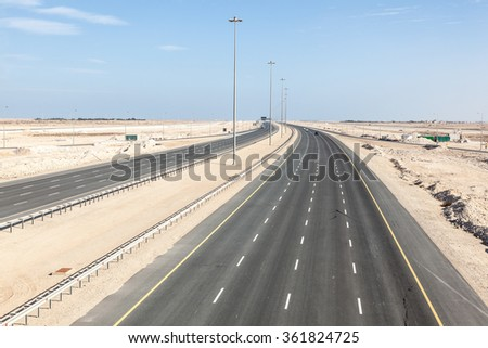 New multiple lane highway number one connection the cities of Al Ruwais and Doha. Qatar, Middle East
