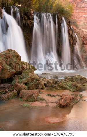 New Navajo Falls, Havasupai, Grand Canyon, Arizona - stock photo