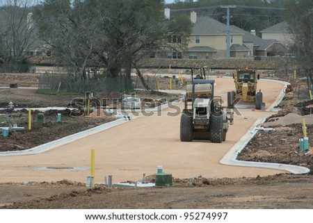 New neighborhood under construction - stock photo