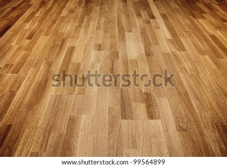 New oak parquet of brown color - stock photo