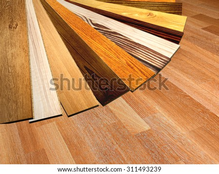 New oak parquet of different colors. 3d render - stock photo