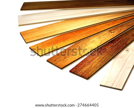 New oak parquet of different colors. Isolated on white background - stock photo