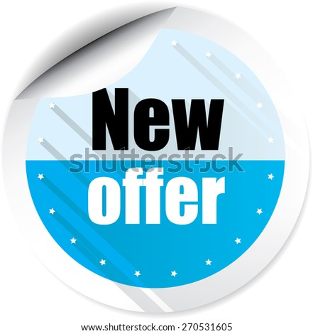 New offer modern style blue stickers and label. - stock photo