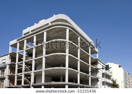 New office building construction site. In concrete only - stock photo