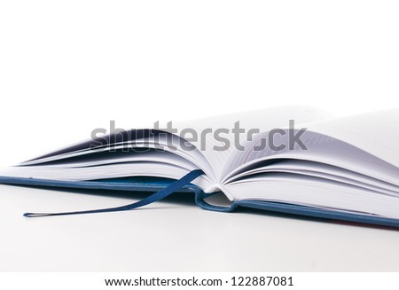 new open business notebook, diary hardcover isolated on white background. - stock photo