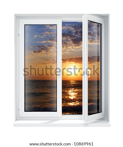 new opened plastic glass window frame evening isolated on the white background 3d model illustration
