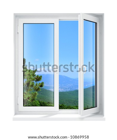 new opened plastic glass window frame isolated on the white background 3d model illustration - stock photo