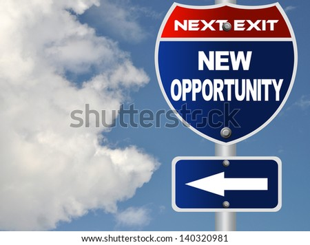 New opportunity road sign - stock photo