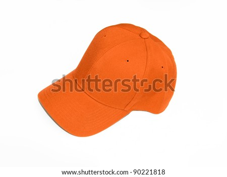 New Orange Baseball Cap isolated on white background - stock photo