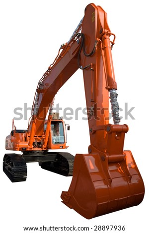 New orange excavator isolated on pure white - stock photo