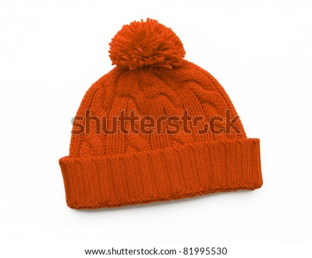 New Orange Knit Wool Hat with Pom Pom isolated on white background