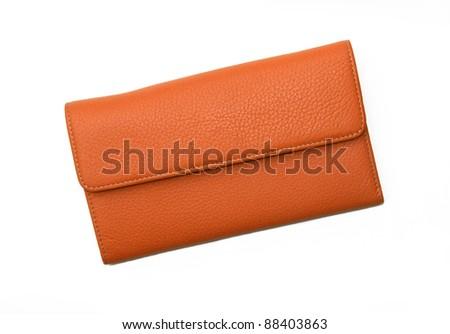 New Orange Leather Wallet isolated on white background - stock photo