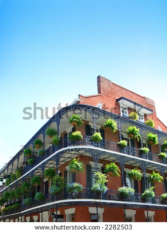 New Orleans Architecture, wrought iron balconies - stock photo