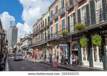 NEW ORLEANS - AUGUST 25: People traveling in The French Quarter in New Orleans on August 23, 2015 - stock photo