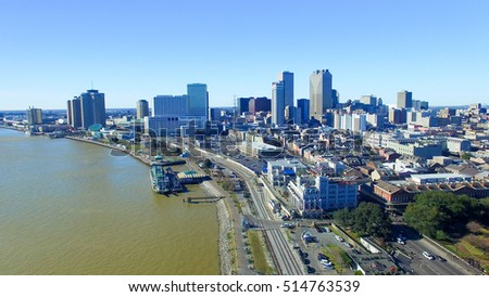 New Orleans cityscape along Mississippi.