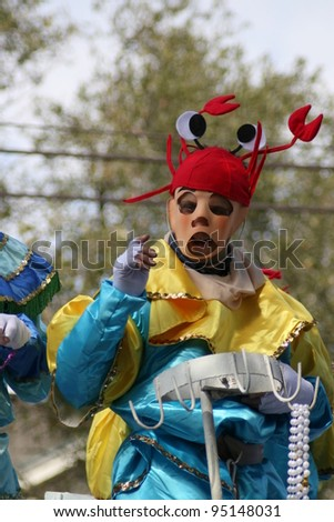 NEW ORLEANS - FEBRUARY 2: People celebrated crazily in Mardi Gras parade. February 2, 2008 in New Orleans, Louisiana.