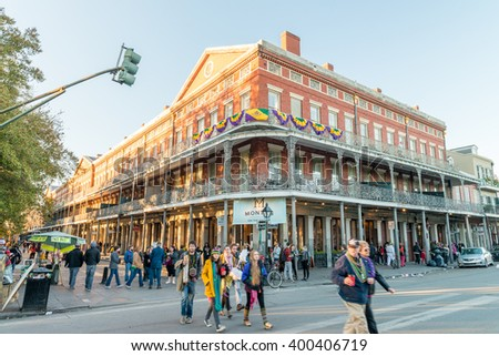 NEW ORLEANS - FEBRUARY 9, 2016: Tourists visit Nola in Mardi Gras week. New Orleans attracts 10 million tourists every year. - stock photo