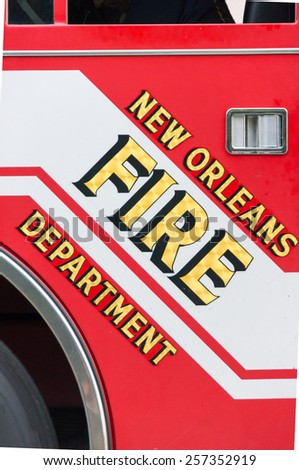 NEW ORLEANS-JUL 12: Pierce fire truck ready for the next alarm in New Orleans on JUL 12, 2011. NOLA  firefighters fight 244 or more structural fires annually. - stock photo