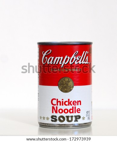 NEW ORLEANS, LA-JANUARY 24,2014:  A can of Campbell's brand condensed Chicken Noodle soup.  Chicken noodle soup is commonly referred to as food for the soul. - stock photo