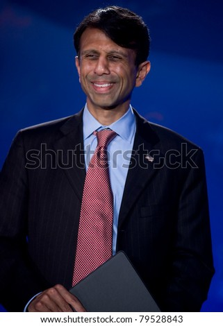 NEW ORLEANS, LA - JUNE 17: Louisiana Governor Bobby Jindal addresses the Republican Leadership Conference on June 17, 2011 at the Hilton Riverside New Orleans in New Orleans, LA. - stock photo