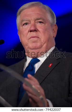 NEW ORLEANS, LA - JUNE 17: Mississippi Governor Haley Barbour addresses the Republican Leadership Conference on June 17, 2011 at the Hilton Riverside New Orleans in New Orleans, LA. - stock photo