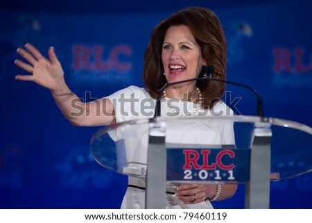 NEW ORLEANS, LA - JUNE 17: Presidential candidate Michele Bachmann addresses the Republican Leadership Conference on June 17, 2011 at the Hilton Riverside New Orleans in New Orleans, LA. - stock photo