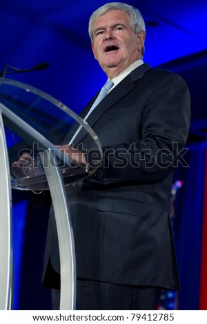 NEW ORLEANS, LA - JUNE 16: Presidential candidate Newt Gingrich addresses the Republican Leadership Conference on June 16, 2011 at the Hilton Riverside New Orleans in New Orleans, LA. - stock photo