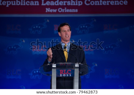 NEW ORLEANS, LA - JUNE 17: Presidential candidate Rick Santorum addresses the Republican Leadership Conference on June 17, 2011 at the Hilton Riverside New Orleans in New Orleans, LA. - stock photo