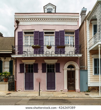New Orleans, LA USA - April 20, 2016: A beautifully restored home in the historic French Quarter district.