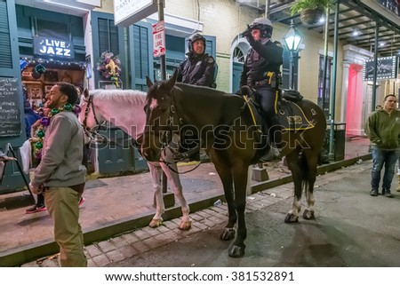 New Orleans, LA/USA - circa February 2016: Mounted Police riding horses during Mardi Gras in New Orleans, Louisiana