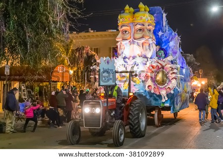 New Orleans, LA/USA - circa February 2016: The Creator, Brahma, in parade during Mardi Gras in New Orleans, Louisiana - stock photo