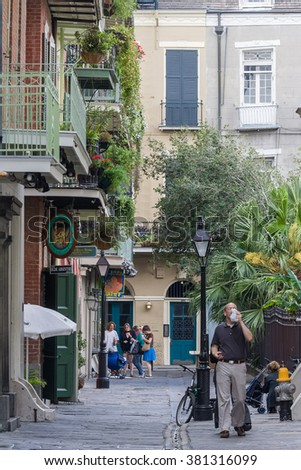 New Orleans, LA/USA - circa March 2009: Streets of French Quarter in New Orleans, Louisiana - stock photo