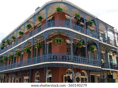 New Orleans, LA USA - 06/01/2015 - French Quarter Wrought Iron Architecture   - stock photo