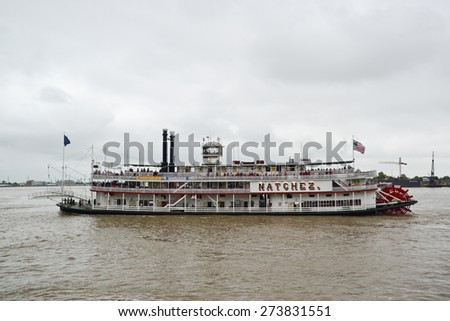 New Orleans, Louisiana - April 26, 2015: The Steamboat Natchez on the Mississippi during NOLA Navy Fleet Week.