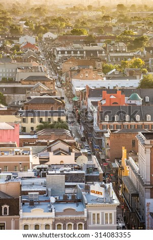 NEW ORLEANS, LOUISIANA - AUGUST 22: Top view of Bourbon Street  in the French Quarter, New Orleans on August 22, 2015. It extends 13 blocks from Canal Street to Esplanade Avenue. - stock photo