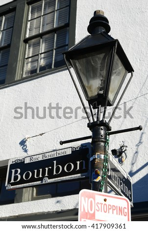 New Orleans, Louisiana; February 9, 2016:  A gas lamp on Bourbon street in New Orleans, Louisiana.