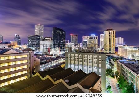 New Orleans, Louisiana, USA CBD skyline at night. - stock photo