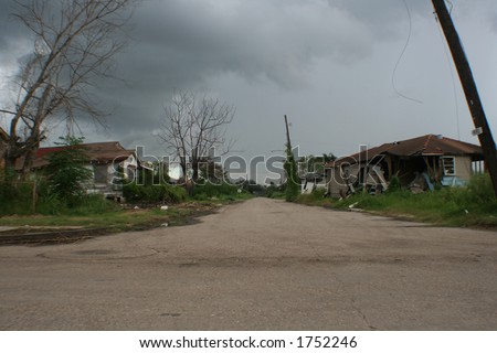 New Orleans, Lower Ninth Ward. One year after Hurricane Katrina. - stock photo