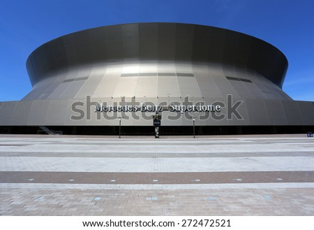 NEW ORLEANS - MARCH 28: The Mercedes-Benz Superdome in downtown New Orleans, Louisiana on March 28, 2015. The enclosed multipurpose arena is home to the New Orleans Saints of the NFL. - stock photo