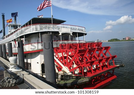 new orleans paddle steamer - stock photo