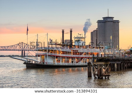 New Orleans paddle steamer in Mississippi river in New Orleans,  Lousiana - stock photo