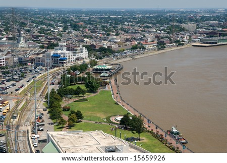 New Orleans riverfront toward the French Quarter, as seen from the World Trade Center - stock photo