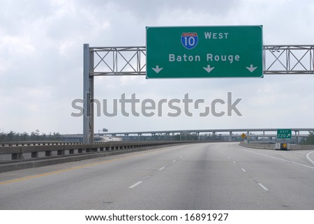 NEW ORLEANS - SEPT 2: An empty Interstate 10 freeway leading to Baton Rouge is shown on September 2, 2008 in New Orleans.  Hurricane Gustav did not inflict major damage to the area. - stock photo