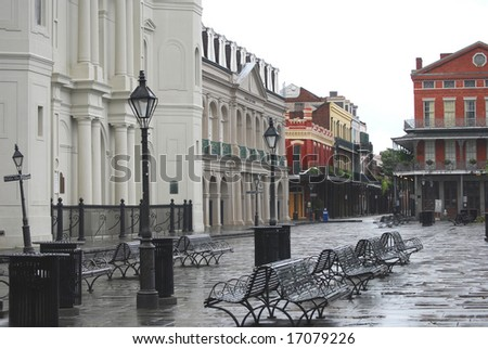NEW ORLEANS - SEPT 2: Jackson Square in the French Quarter of New Orleans is shown empty during curfew imposed due to Hurricane Gustav on September 2, 2008 in New Orleans. - stock photo