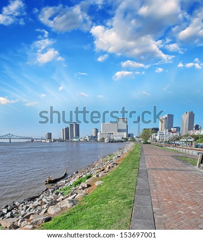 New Orleans. Sidewalk along Mississippi River. - stock photo
