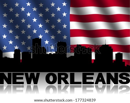 New Orleans skyline and text reflected with rippled American flag illustration - stock photo