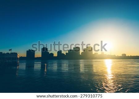 New Orleans Skyline at Sunsset - stock photo